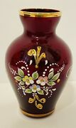 Vintage Murano Ruby Red Bud Vase Hand Painted Art W/decor And Floral Motifs Label