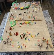 Vintage Mixed Lot 250 Toy Plastic Cowboys Indians Horses And Accessories
