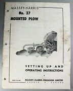 Vintage Setting Up And Operating Instructions Massey-harris No 7 Mounted Plow