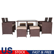 Rattan Furniture Set Outdoor Garden Patio W/ Dining Table 4 X Chairs Large Size