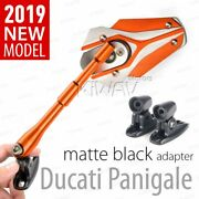 Fairing Mirrors Orange Viper Black Adapter Fits Ducati 899 Panigale Abs 14and039-15and039