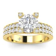1.45ct G-si2 Diamond Round Engagement Ring 18k Yellow Gold Any Size