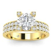 1.45ct G-si2 Diamond Pave Engagement Ring 14k Yellow Gold Any Size