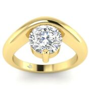 1ct D-vs1 Diamond Curved Engagement Ring 14k Yellow Gold Any Size