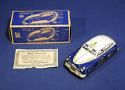 Vintage Courtland Tin Friction Police Patrol Car With Siren + Original Box Paper