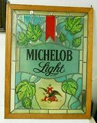 Vintage Michelob Light Beer Stained Glass Look Framed Sign Bar Pub Man Cave