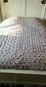 Vintage Farmhouse Hand Tied Quilt Blanket Hand Stitched Home Made 140 X 80