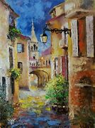Yary Dluhos Original Art Oil Painting Old Europe Night City Village Architecture