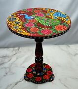 Wooden Table Lacquer Handmade Round Side Table Antique Style Hand Painted