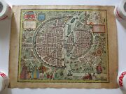 Antique Hand Colored Old Map Large 16th Century View Paris Painting 1564 Date