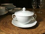 Royal Copenhagen White Fluted Full Lace Soup Cup And Saucer With Lid Handle Rare