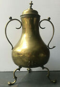 Antique Brass Two Handled Lidded Urn With The British Royal Crest Royal Family