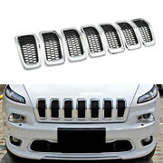 7 X Abs Chrome Front Grille Ring Grill Insert Trim Cover For Jeep Cherokee 14-18