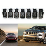 For Jeep Cherokee 14-18 7x Car Front Grille Chrome Ring Grill Insert Trim Cover