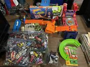 Lot Of 150+ Hot Wheels Matchbox Maisto With Tracks And Accessories