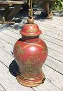 Large Chinese Red And Gilt Decorated Ginger Jar Lamp