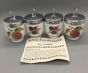 4 Royal Worcester Porcelain Egg Coddlers Evesham Peach And Berries. Made In Engl.