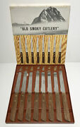 Vtg Parker Brothers Chattanooga Tn Steak Knives 8 Wood Handle Old Smoky Cutlery