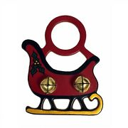 Red Christmas Sleigh Leather Sleigh Bell Door Knob Hanger Made In Usa New