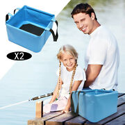 2pcs 18l Outdoor Collapsible Bucket Water Container For Camping Traveling