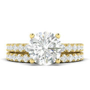 1.6ct F-si1 Diamond With Accsdts Engagement Ring 18k Yellow Gold Any Size