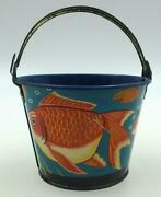 Small 1950's Vintage Tin Sand Pail With Fat Colorful Koi Fish-rare Variation
