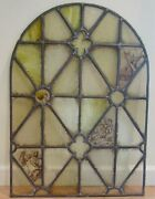 Vintage Stained Glass Panels Pair - 18th Or 19th Century