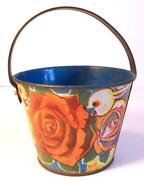 Small Vintage Japanese Tin Sand Pail Or Bucket- Roses With Rabbits-b