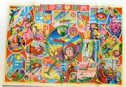 Vintage Japanese Space Game Sheet W/sleeve- Russian Rocket Monsters Astronauts