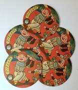 Lot Of 5 Colorful 1950's Vintage Japanese Menko Cards-boy Baseball Player