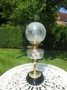 Antique Brass And Cut Glass Oil Lamp With Original Victorian Oil Lamp Shade