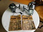 Lot Of 2 Vintage Rare Reels W/ Papers Rugged Roddy 20 And Roddy-gyro 200 Reels