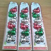 18 Disney Store Mickey Icon Christmas Glass Ornaments Red Green New In Packages