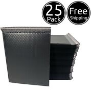 25 Pack 9 X 12 Inches Usable Large Black Poly Bubble Shipping Mailers Envelopes