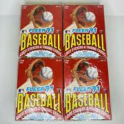 4x Fleer 1991 Baseball Cards And Stickers 36 Factory Sealed Packs Unopened Wax Box