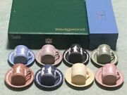 Wedgwood Jasperware Dancing Hours Cup And Saucer 8 Colors Complete With Box Rare