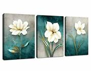 Flower Canvas Wall Art Bedroom Wall Decor White Blossom Blue Abstract Large Canv
