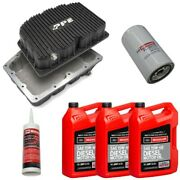 Ppe Black Oil Pan With Motorcraft 15w-40 Oil/filter For 11-21 6.7l Powerstroke
