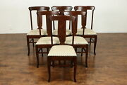 Set 6 Antique Farmhouse Craftsman Mission Oak Arts And Crafts Dining Chairs 37402