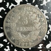 1811-a France 5 Francs Lotjm3238 Large Silver Coin Old Cleaning, Napoleon