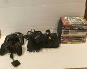 Sony Playstation 2 Ps2 Console Bundle W/ 2 Controllers, 10 Games, 2 Memory Cards