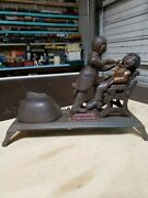 Vintage Dentist Pulling Teeth Mechanical Cast Iron Coin Bank