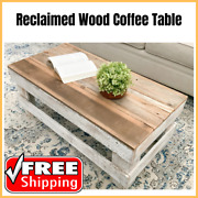 Coffee Tea Table Reclaimed Rustic Farmhouse Rectangular Solid Wood Natural/white
