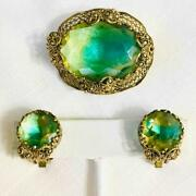 Vtg. W Germany Gold Tone Filigree Green Givre Glass Pin Brooch And Clip Earrings