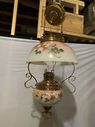 """Antique Miller """"the New Juno"""" Hanging Brass And Milk Glass Oil Lamp Electrified"""