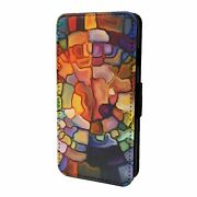 For Apple Iphone 6 6s Flip Case Cover Stained Glass Pattern S3545