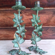 Ivy Candlestick Holders Metal French Country Cottage Home Decor Patinated