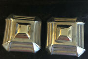 925 Sterling Silver Designercatherine M Zadeh Square Cuff Links One With Marking