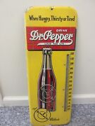 Vintage Advertising Dr Pepper Soda Clock Tin Store Thermometer 87-q