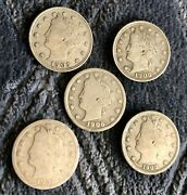 Lot Of 6 Liberty Nickles 1905,21906,1907,1908+1912-d G-xf